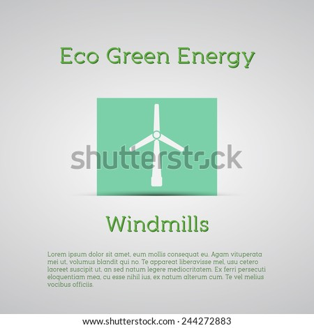 Windmills receiving wind energy poster. Vector illustration concepts for ecology,  and green technology. flat design. Banner. - stock vector