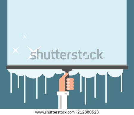 Window cleaning background, flat design vector illustration - stock vector