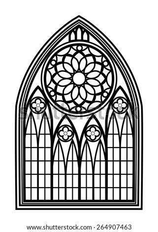 Window for churches and monasteries. Architecture and cathedral, medieval and gothic. Vector illustration - stock vector