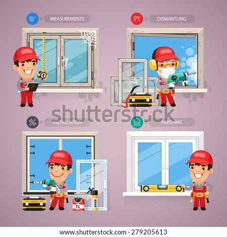 Window Installation Step by Step with Handyman Carpenter. In the EPS file, each element is grouped separately. - stock vector