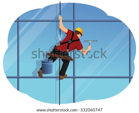 Window washer is cleaning high office building using a squeegee. Housekeeping service. - stock vector