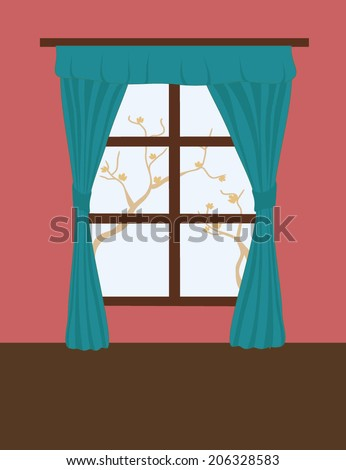Window with blue curtains - stock vector