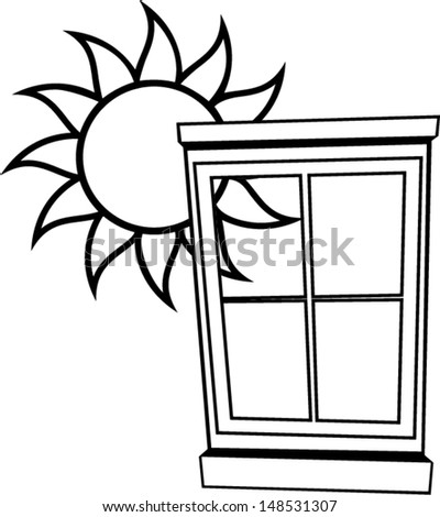 window with shiny sun outline - stock vector