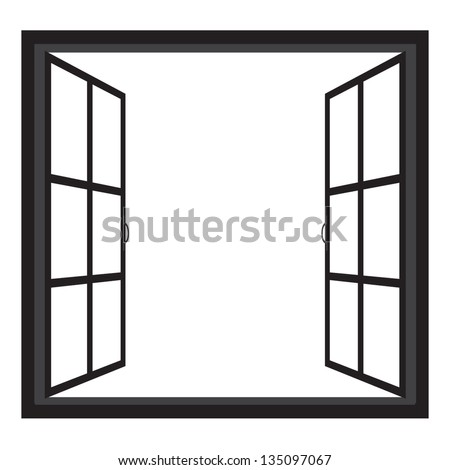 windows-wide open window silhouette vector - stock vector