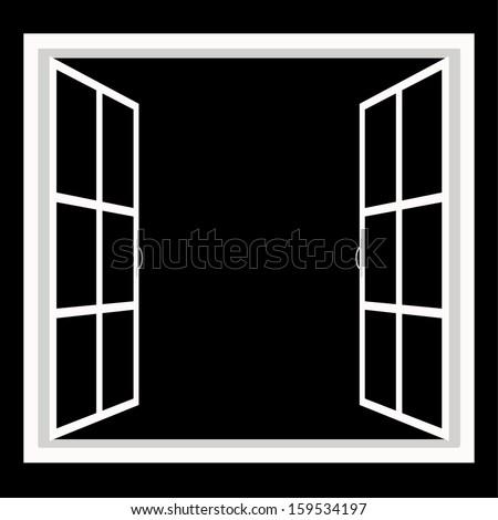 windows-wide open window silhouette vector - stock vector