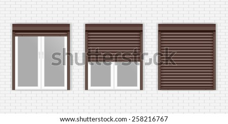 Windows with Rolling Shutters - vector drawing  on White brick wall background. - stock vector