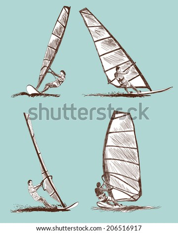 Windsurfing sketch set. Vector EPS 10 illustration without transparency and meshes. - stock vector