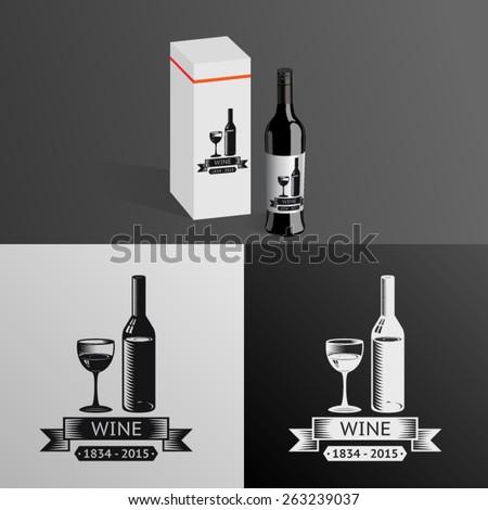 Wine Alcohol Drink Logo Symbol Bottle Glass ribbons Icon Box Mockup Template Vector Illustration - stock vector