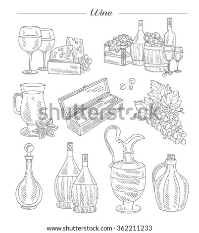 Wine and Grapes, Handdrawn Vector Collection set - stock vector