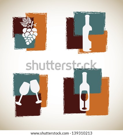 wine art  over gray background vector illustration - stock vector