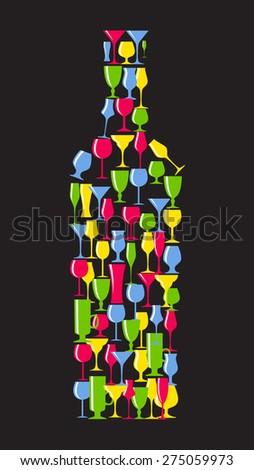 Wine Bottle From Alcoholic Glass Silhouette Vector Illustration EPS10 - stock vector