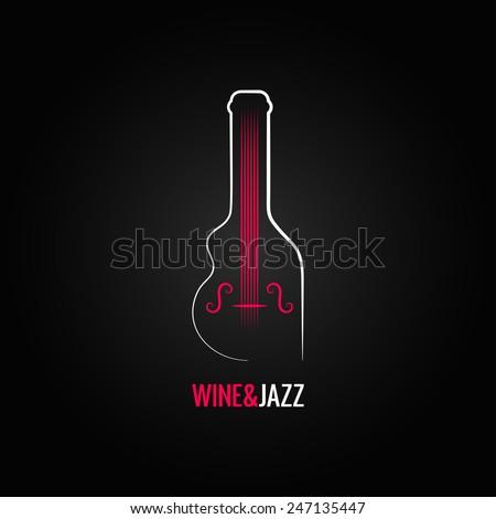 wine bottle jazz design background - stock vector