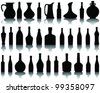 Wine bottle silhouette and shadow - stock vector