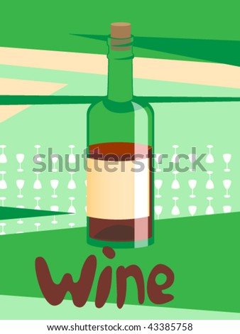 Wine bottle vector illustration. - stock vector