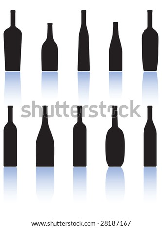 wine bottles - stock vector