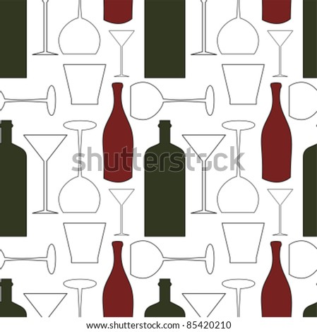 Wine bottles and glasses - seamless pattern background - stock vector