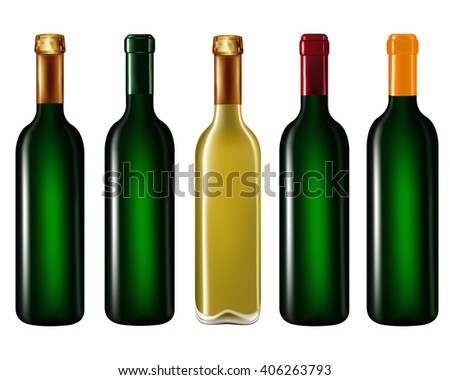 Wine bottles in row isolated on white background,Vector illustration - stock vector