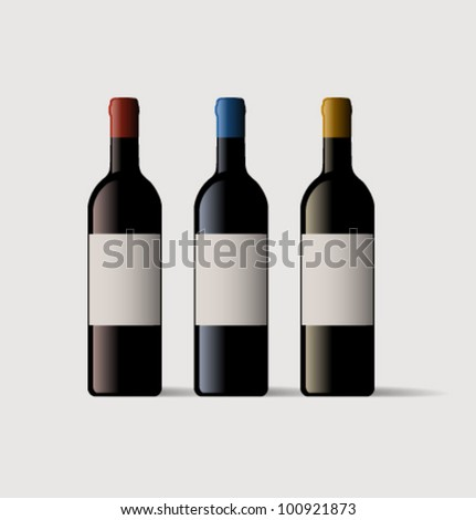 wine bottles with blank label - stock vector