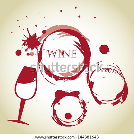 wine bubbles over vintage background vector illustration - stock vector