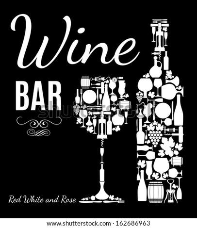 Wine card. - stock vector