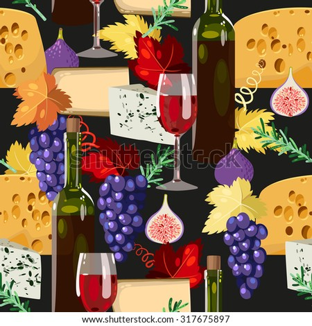 Wine, cheese and grape vector seamless background - stock vector