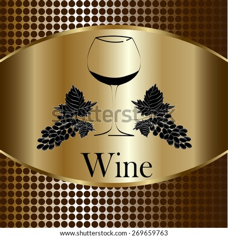 wine glass concept menu design. Wine glass with grapes. Vector - stock vector