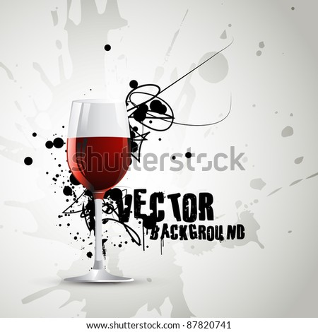 wine glass in abstract grunge style artwork - stock vector