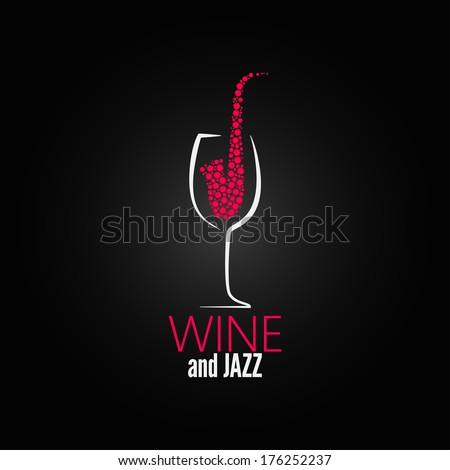 wine glass jazz design concept background - stock vector