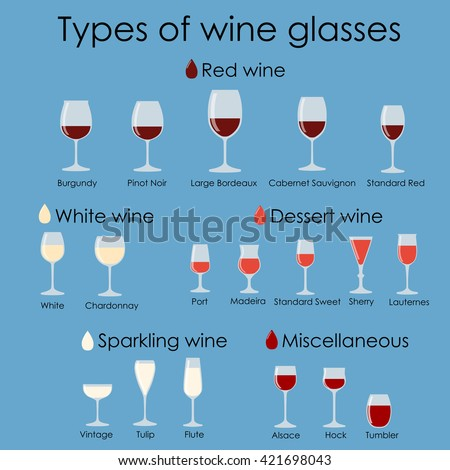 Wine glass set or classification collection isolated on blue. Vector illustration.  - stock vector