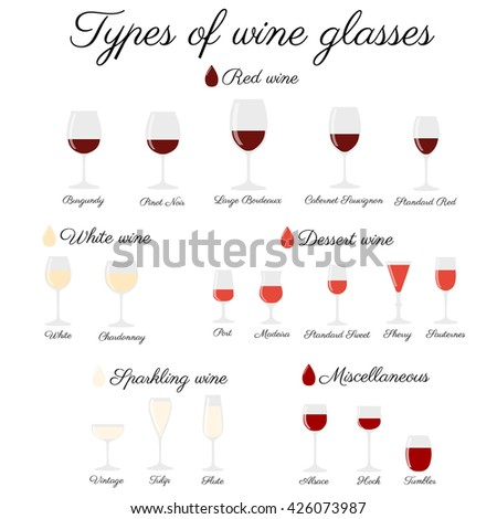 Wine glass set or classification collection isolated on white with calligraphy text. Vector illustration. - stock vector