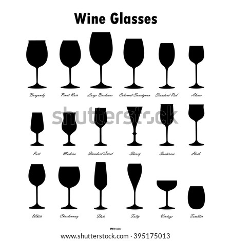 Wine glass silhouettes vector set on white background - stock vector
