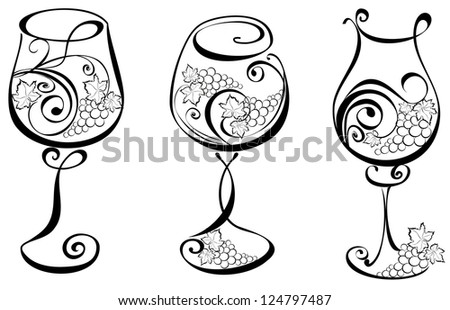 Wine glass with grapevines. Vector wine design elements. - stock vector