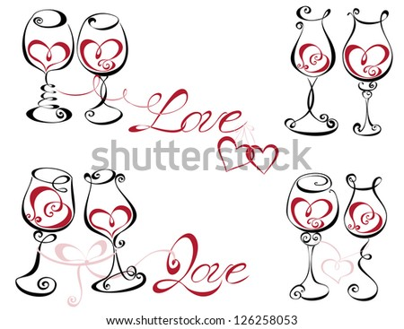Wine glass with red wine in a heart shape - stock vector