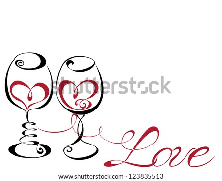Wine glass with red wine in a heart shape. Concept for Love and Valentines Day. Vector illustration - stock vector