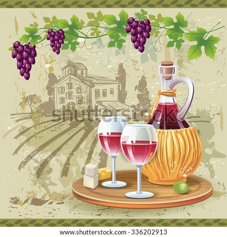 Wine glasses, bottle and grapes in vineyard - stock vector