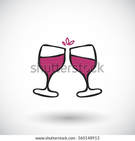 Wine glasses sketch. Hand-drawn cartoon wine icon - cheers. Doodle drawing. Vector illustration  - stock vector