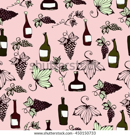 Wine&grape seamless pattern. Wine making products in sketch style. Vector illustration with wine, grapes, grape twig. Classical alcoholic drink. wine design elements. Pink background. - stock vector