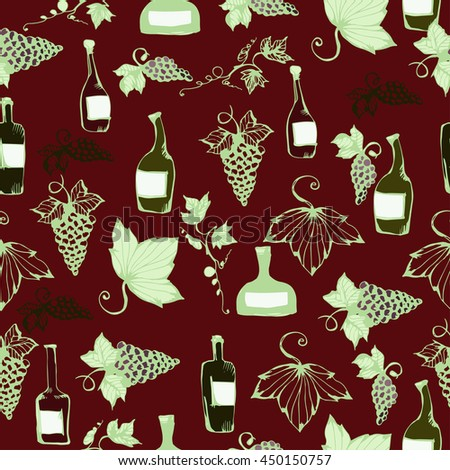 Wine&grape seamless pattern. Wine making products in sketch style. Vector illustration with wine, grapes, grape twig. Classical alcoholic drink. wine design elements. - stock vector
