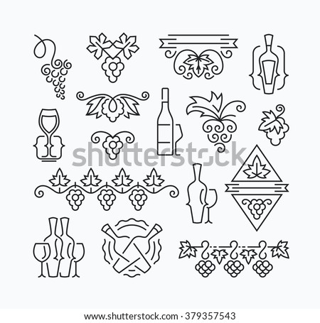 Wine, grapes and bottles' mono line elements for menu, package, design. Vector contour flat logo, emblems, decorations.  - stock vector