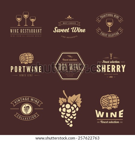 Wine Hipster Logo design vector typography lettering templates. Retro Vintage Labels such as logos Sherry, Sweet wine, Portwine, Table wine - stock vector