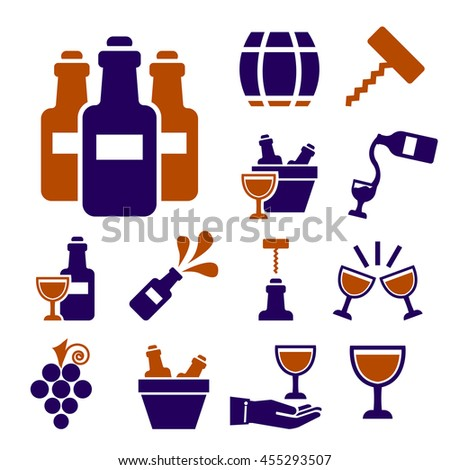 wine icon set - stock vector