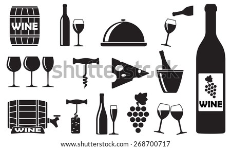 Wine icons set: bottle, opener, glass, grape, barrel. Design elements for restaurant, food and drink. Vector illustration. - stock vector