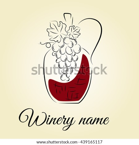 Wine jug with grape. Winery template. Hand drawn concept for winery products, harvest, wine list, wine tasting, menu and logo design. Vector illustration on beige. - stock vector
