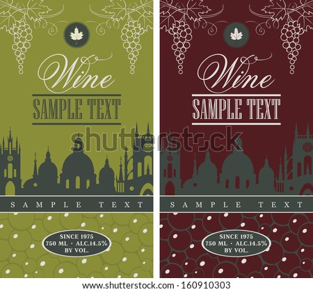 wine label with the old town and a bunch of grapes - stock vector