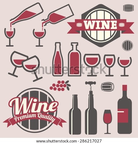 Wine labels and icons collection - stock vector