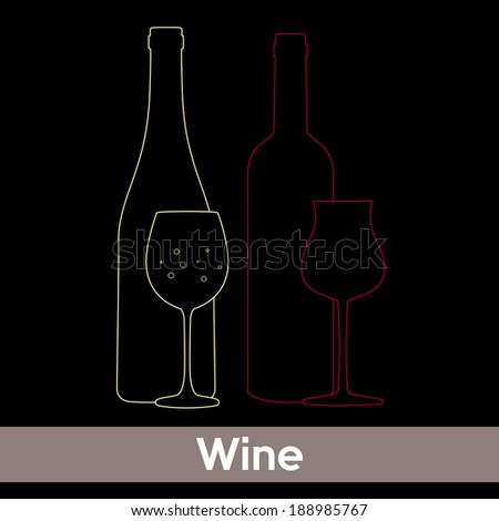 wine list design, silhouette of wine glasses and bottles of red and white wine on black background - stock vector