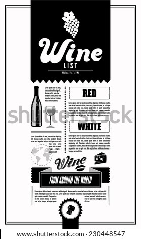 Wine List. Design template. - stock vector
