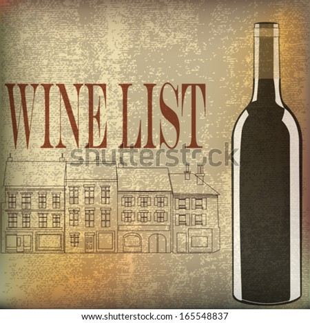Wine List, Vector background for a rustic cafe or bar menu - stock vector