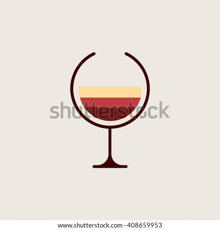 Wine logo. Alcohol icon. Red, pink, white tipes of wine in glass.  Winery brand emblem. Vector illustration. - stock vector