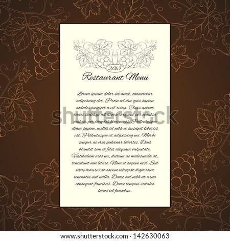 Wine menu card template. Vector illustration. - stock vector